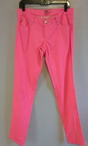 Tripp NYC pink skinny stretch jeans skull accents
